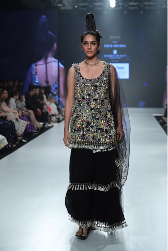 PS-FW661A Ida Black Georgette Kurta with Sharara and Net Dupatta