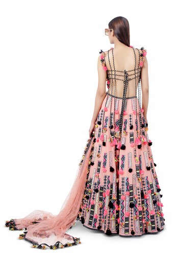 PS-FW758  Idris Coral Colour Georgette Embroidered Back Tie-Up Choli with Lehenga and Dot Net Mukaish Dupatta