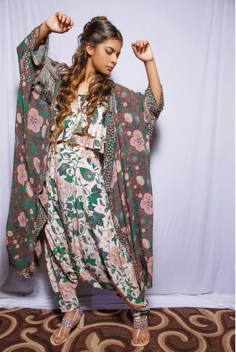 PS-FW639A Ina Brown Printed Georgette Jacket with White Printed Crepe Layered Top with Low Crotch Pant