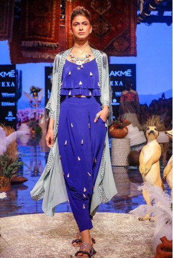 PS-FW639 Ina Periwinkle Blue Georgette Jacket with Cobalt Blue Crepe Layered Top with Low Crotch Pant