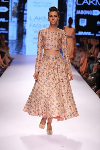 PS-FW308 Inayat Blush Printed Choli with Lehenga and Soft Net Churidar