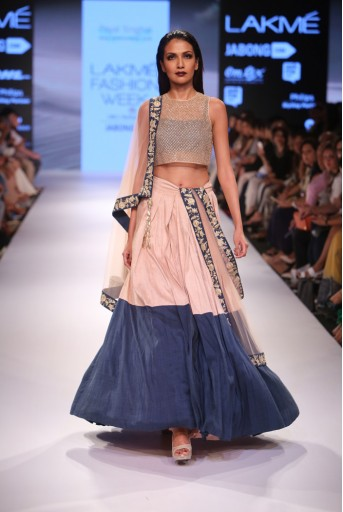 PS-FW362 Iqara Blush Tulle Choli with Navy Silk Lehenga and Blush Tulle Dupatta