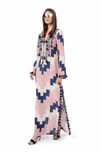 PS-FW781  Iqra Blush Pink Colour Printed Crepe Embroidered High-Slit Kaftaan