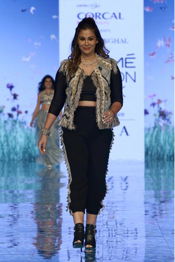 PS-FW689 Iraj Pale Blue Georgette Jacket and Black Lycra Top and Georgette Pant