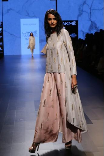 PS-FW397 Iran Dove Grey Silk Kurta with Blush Silk Palazzo