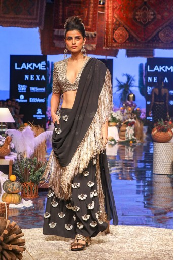 PS-FW637 Iria Black Crepe Back Tie-up Choli with Palazzo and attached Georgette Drape