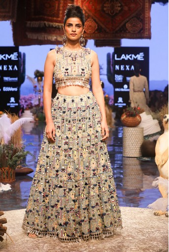 PS-FW660 Istanbul Stone georgette Choli with Periwinkle Blue Georgette Lehenga