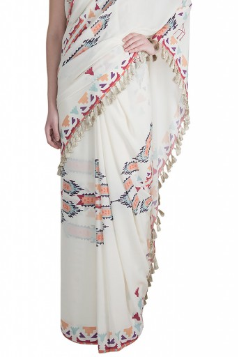 PS-FW617 Itrat Cream Printed Georgette Top and Saree