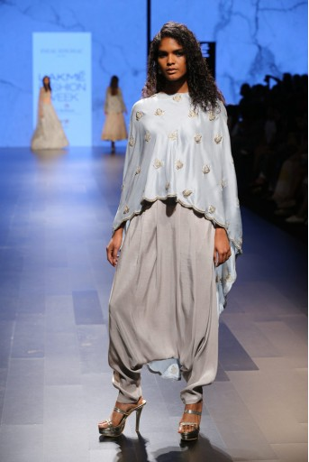 PS-FW405 Ittar Powder Blue Silk Cape with Dove Grey Silk Camisole and low Crotch Pant