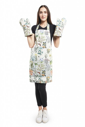 PS-AM0004  Ivory and Aqua Colour Printed Canvas Apron with Mittens and Pouch Set in Gift Box