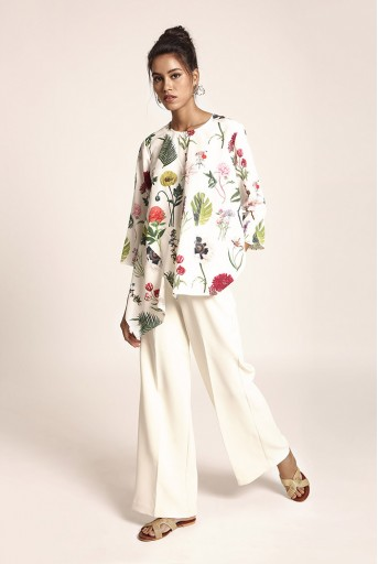 PS-TUA0042 Ivory Printed Art Crepe Tunic