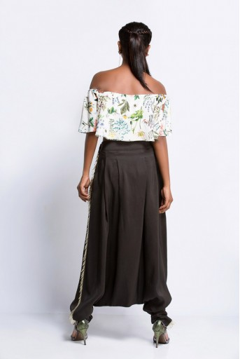 PS-FW425D Ivory Printed Crepe Off Shoulder Ruffle Top and Black Silk Low Crotch Pant