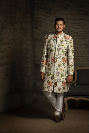 PS-MN082 Ivory Printed Dupion Silk Sherwani with Off White Cotton Silk Churidar