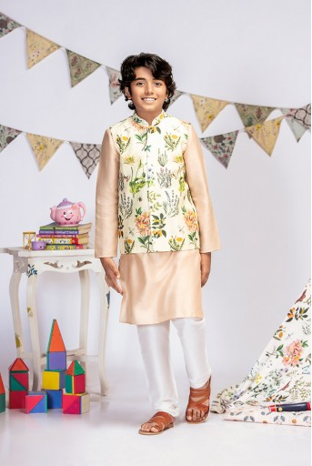 PS-KB0015 Ivory Printed Silkmul Bandi with Blush Cotton Silk Kurta and Off white Cotton Silk Churidar