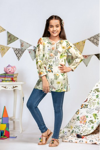PS-KG0001 Ivory Printed Silkmul Tunic