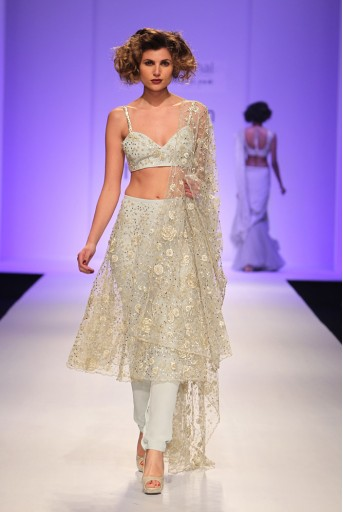 PS-FW344 Jade Powder Blue Silk Choli with Tule Skirt and Soft Net attached Churidar and Tulle Dupatta