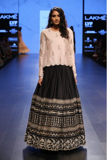 PS-FW417 Jannat Blush Silk Tunic with Black Silkmul Lehenga