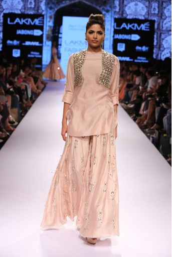 PS-FW315 Jodha Blush Silkmul Kurta with Sharara and Short Jacket