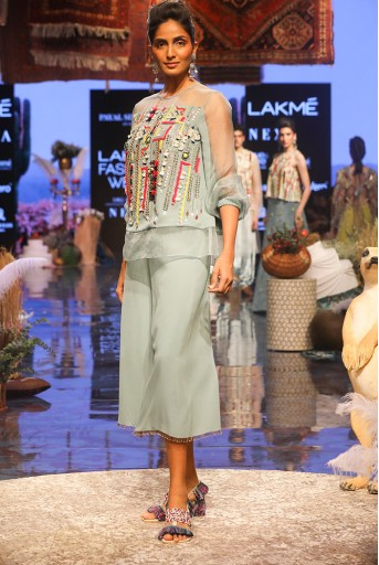 PS-FW666 Julia Periwinkle blue Georgette and Organza Top with Georgette Culottes Pant