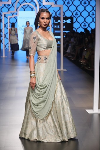PS-FW489 Jumana Mint Brocade Choli and Lehenga with attached Mukaish Georgette Drape