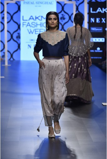 PS-FW492 Kainaat Navy Silk Crop Top with Blush Silk Low Crotch Pant
