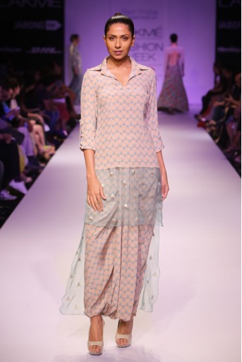PS-FW267 Kama Blush and Blue Printed Crepe Kurta with Embroidered Organza Hem and Dhoti Skirt