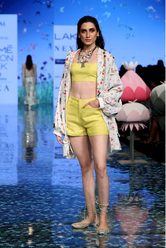 PS-FW722 Kanisha Off White Jacket with Lime Green Bustier and Shorts