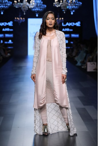 PS-FW435 Kara Blush Silk Cowl Kurta with Soft Net Churidar and Powder Grey Mukaish Georgette Jacket
