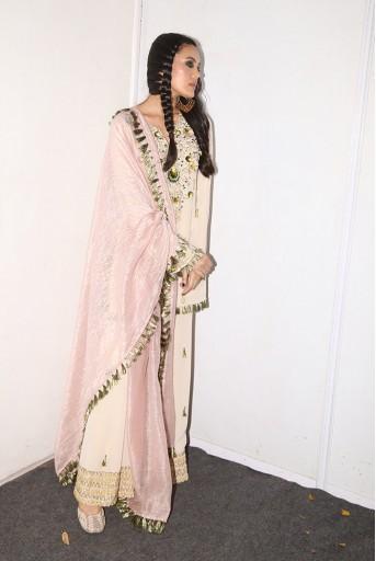 PS-FW599 Kera Stone Crepe Kurta with Sharara and Rose pink Chanderi Stripe Dupatta