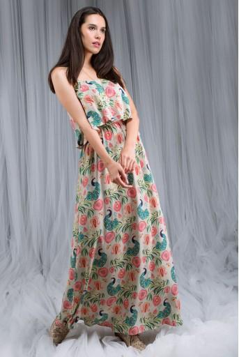 PS-DF005 Khaki Anaar aur Mor Print Flouncy Dress