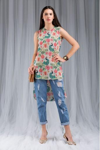 PS-DF009 Khaki Anaar aur Mor Print High-Low Tunic