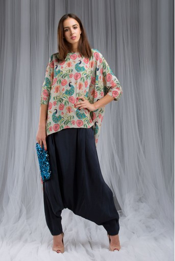 PS-DF003 Khaki Anaar aur Mor Print Kaftan Tunic Set