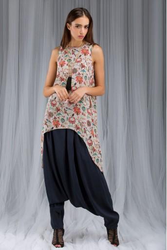 PS-DF013 Khaki Anaar aur Mor Print Tunic and Low Crotch Pant Set