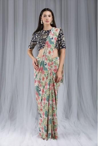 PS-DF018 Khaki Anar aur Mor Print Saree Set