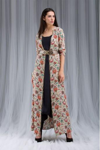 PS-DF012 Khaki Chidiya Print Jacket Set