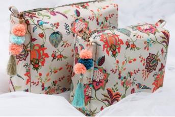 PS-DF035 Khaki Chidiya Print Large , Medium Vanity Kit
