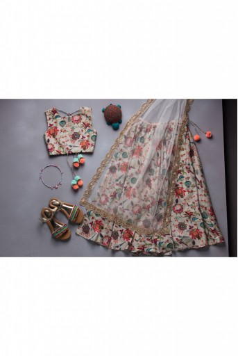 PS-DF-KIDS005 Khaki Chidiya Print Lehenga Set