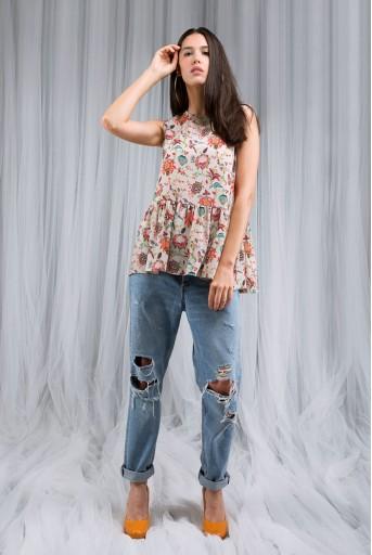 PS-DF002 Khaki Chidiya Print Short Frill Sleeveless Tunic