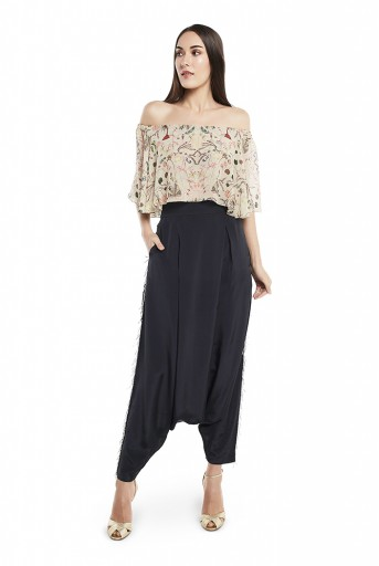 PS-FW425-XX  Khaki Colour Printed Art Georgette Off Shoulder Ruffle Top with Black Colour Art Crepe Low Crotch Pant