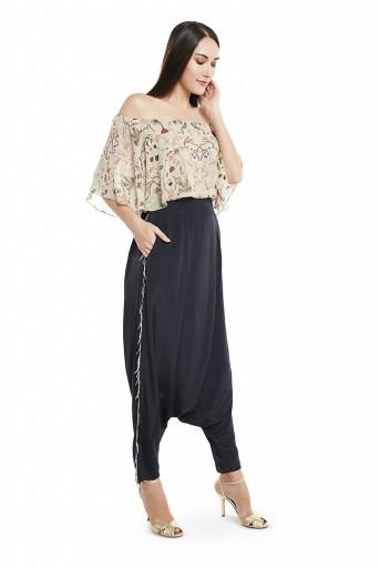 PS-FW425-XX  Khaki Colour Printed Art Georgette Off Shoulder Ruffle Top with Black Colour Art Crepe Low Crotch Pant