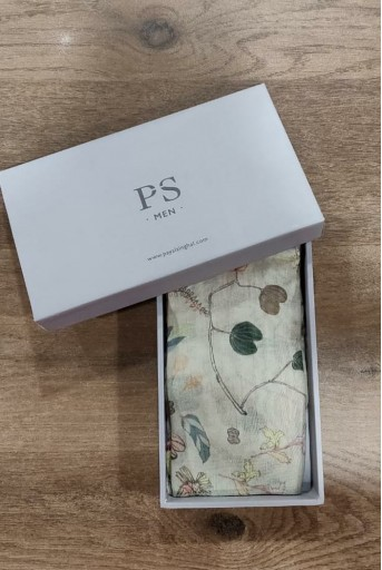 PS-PS120  PS Men Khaki colour printed silkmul pocket square