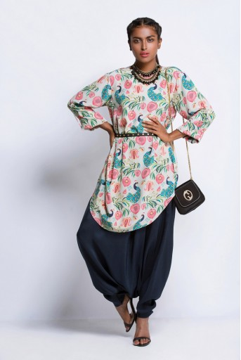PS-ST0940 Khaki Printed Crepe Cowl Tunic with Navy Silk Low Crotch Pant