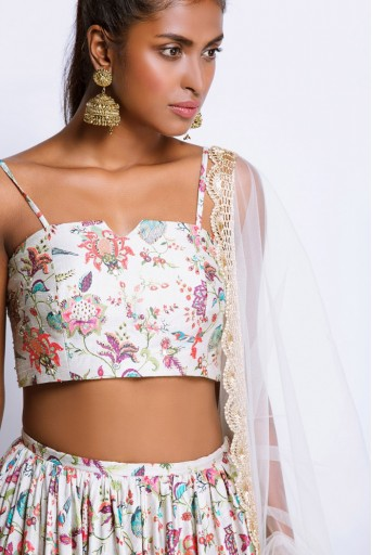 PS-FW374M Khaki Printed Dupion Silk Bustier and Frill Hem Skirt and Tulle Dupatta