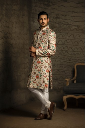PS-MN086 Khaki Printed Dupion Silk Sherwani with Off White Cotton Silk Churidar