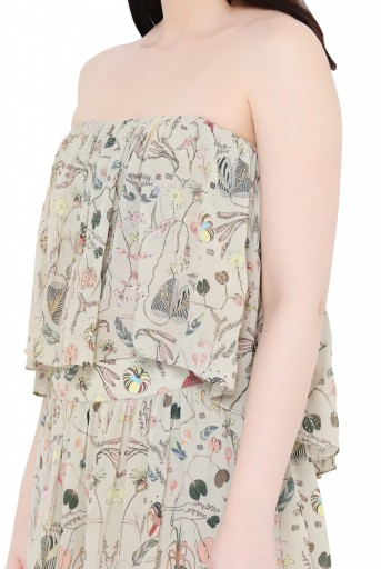 PS-FW710-D  Khaki Printed Georgette Top with Sharara