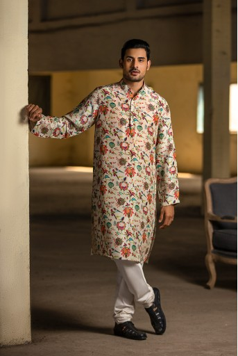 PS-MN080 Khaki Printed Silk Kurta with Off White Cotton Silk Churidar