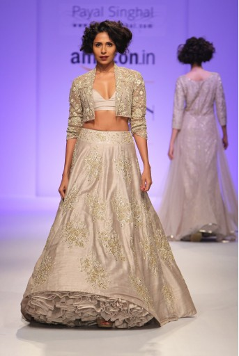 PS-FW347 Kiara Stone Net Cropped jacket with Dupion Silk Bustier and Lehenga