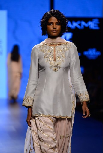 PS-FW403 Kismat Dove Grey Silk Kurta with Blush Silk Salwar and Tulle Dupatta