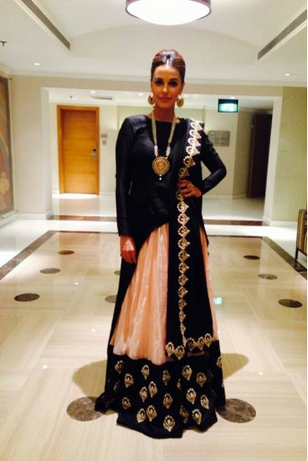 PS-FW216 Lahore Black Silkmul kurta with Blush Silkmul lehenga and Black Dupatta