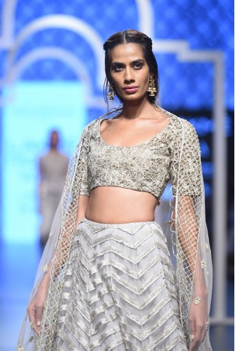 PS-FW496 Lamiya Grey Silk Choli with Light and Dark Grey Tulle Lehenga and Tulle Dupatta